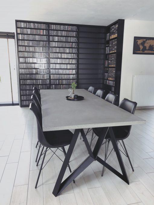 betonlook tafel recht met crosspoot