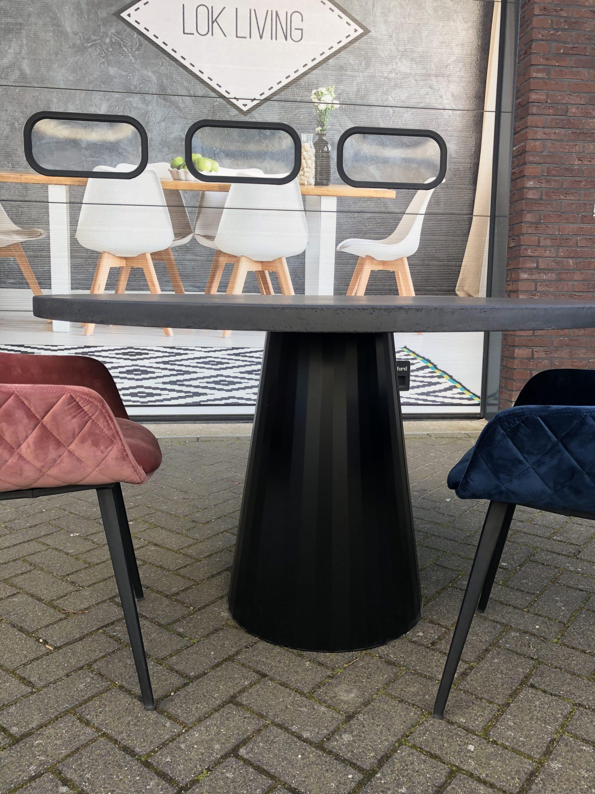 ronde betonlook tafel met ronde poot