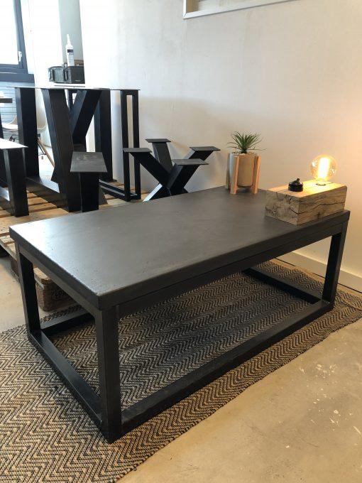 betonlook salontafel stalen frame