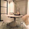betonlook tafel rond met ronde poot