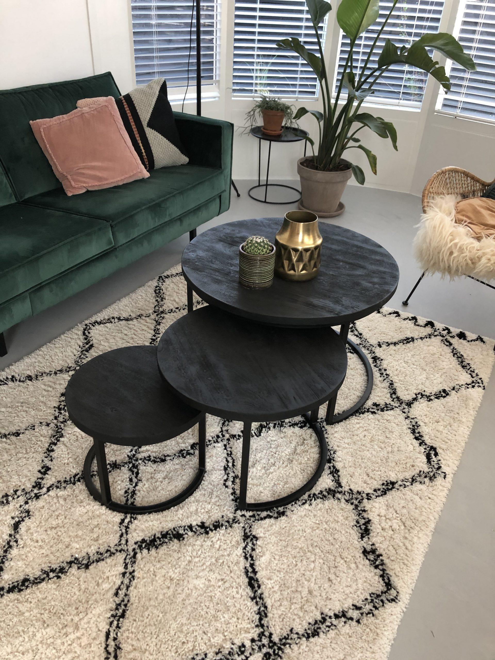 salontafel set van 3 zwart